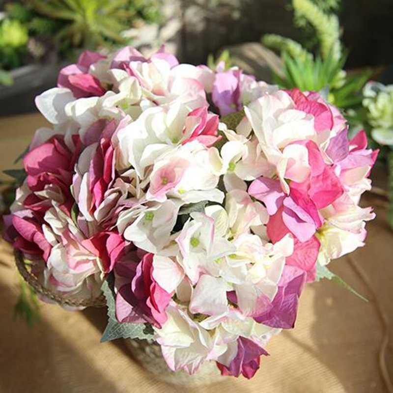 10 sztuk fałszywe kwiaty dla domu dekoracyjne sztuczne kwiaty piwonia bukiet ślubny dekoracji jedwabne hortensje tanie kwiaty