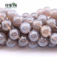 10 stücke 6/8/10/12/14mm Natürliche Grau Achate Edelstein Runde Perlen Charms DIY handgemachte Schmuck Machen Lose Stein Perlen 2007