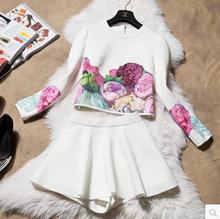 2017 на осень-зиму Женская Цветы замши жилет с длинными рукавами + костюмы с юбкой женские комплекты весенние повседневные комплекты из 2 предметов женский