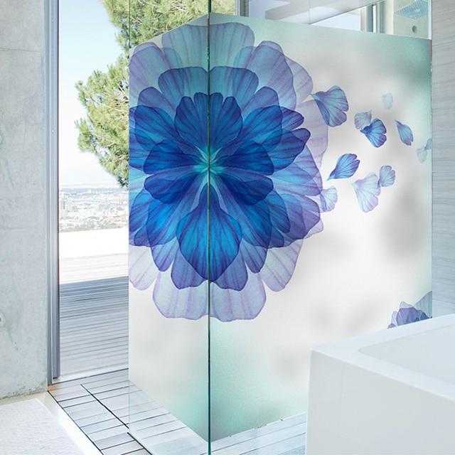 Cheap pvc 60x88cm wind floating blue flower window stickers bathroom sunscreen anti static door windows