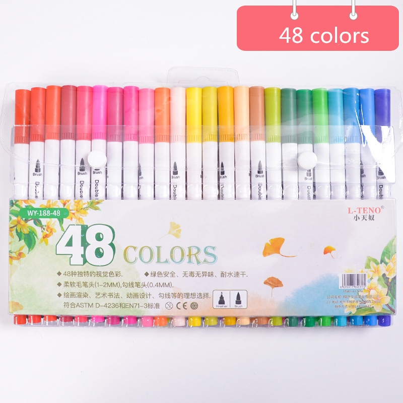 48 Colors/Set Double Heads Art Markers Profession Watercolor Brush Pen Painting Writing Supplies Kawaii Stationery Set48 Colors/Set Double Heads Art Markers Profession Watercolor Brush Pen Painting Writing Supplies Kawaii Stationery Set