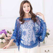 See-through Summer Lace Blouse Women Tops 2019 Korean Fashion Batwing Sleeve Sunproof Plus Size Cropped Flower Blouse femme