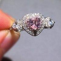 Женские Классические однотонные 925 Серебряное кольцо розовый сердце SONA Diamant кольца CZ свадебные украшения для Для женщин размер, 5,6, 7,8, 9,10