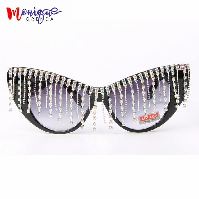 9439ec0b8a6 2018 Oversize Cat Eye Sunglasses Women Brand Designer Luxury AB Crystal  Vintage Sun Glasses Fashion Shade oculos