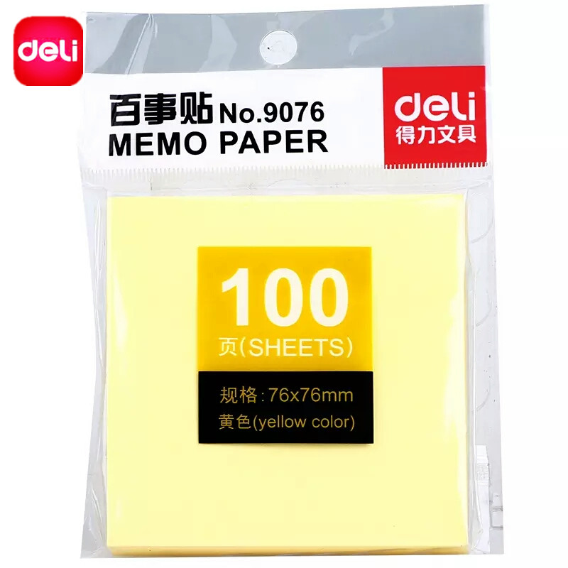Deli 100 Sheets Sticky Notes NotesSticky Memo Paper Post Notepad Filofax Memo Pads Office Supplies School Index Cute Stationery
