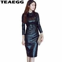 TEAEGG Black Dress Women Robe Pull Femme Hiver 2017 Autumn Dresses For Women Clothing Long Sleeve PU Leather Dress Famale AL232
