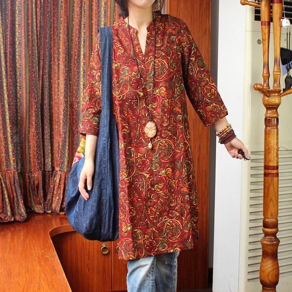 В народном стиле женские весенние ретро с v-образным воротником Длинные рубашки простые свободные хлопковые льняные длинные блузки - Цвет: see chart