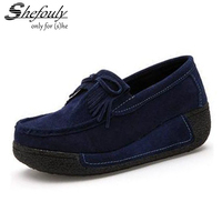 Shefouly Women Flat Platform Loafers Ladies Elegant Suede Moccasins Shoes Slip On Tassel Flats Women Casual