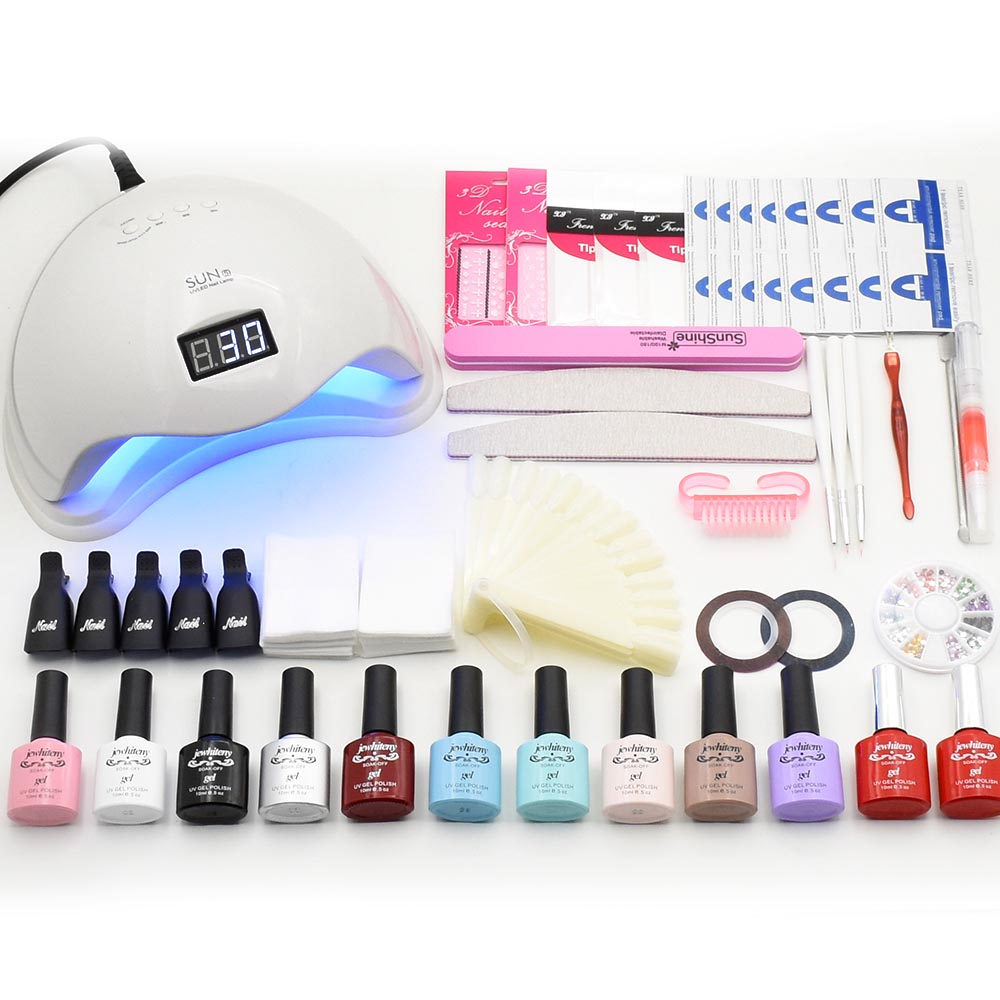 Nail Set Kit 48w SUN5 UV Led Lamp Dryer 10 Colors UV gel Nail Polish Manicure Kit Nail Gel Set Nail Art tools Manicure Tools Set