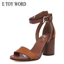 E TOY WORD women sandals 2019 Summer Ladies Open Toe Square Heel High Sandals Ankle Strap Heels Women Shoes Sandalias