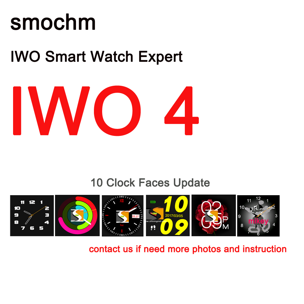 Smochm IWO 4 Bluetooth Smart Watch Leather Strap Heart Rate Monitor Blood Pressure 10 Clock Faces for IPhone Andriod Smart Phone iwo 5 wireless charger bluetooth smart watch with heart rate ecg 9 clock faces watch pedometer for android ios phone pk iwo 3 2