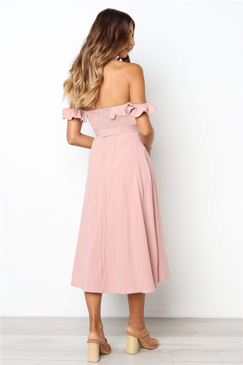 Backless Sexy Women Summer Dress 19 Ruffles Off Shoulder Beach Dress Buttons Strapless Long Sundress Boho Midi Dress Ladies 16