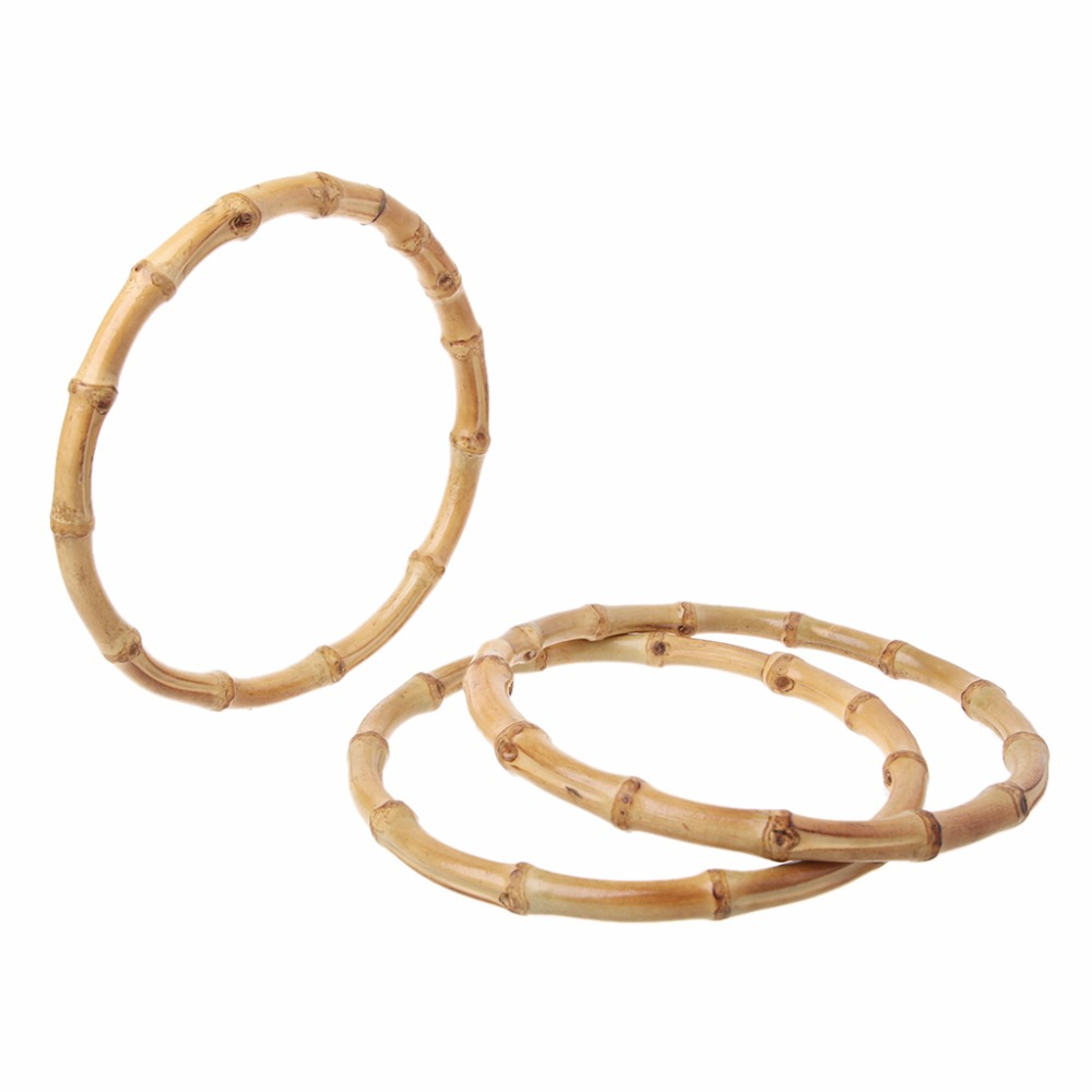 THINKTHENDO 1 X Round Bamboo Bag Handle For Handcrafted Handbag DIY Bags Accessories Good Quality 15x15cm