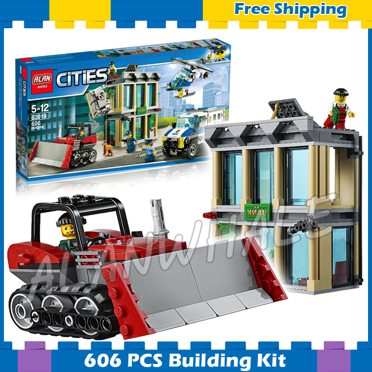 606pcs City Police Bulldozer Break-In Station Base Model Building Blocks 02019 Assemble Children Gifts sets Compatible With Lego