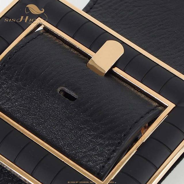 SISHION المرأة حزام مطاطا الغربية أحزمة جلدية للنساء الملكي خمر فساتين أحزمة الأسود مصمم مشبك Cummerbund VB0016