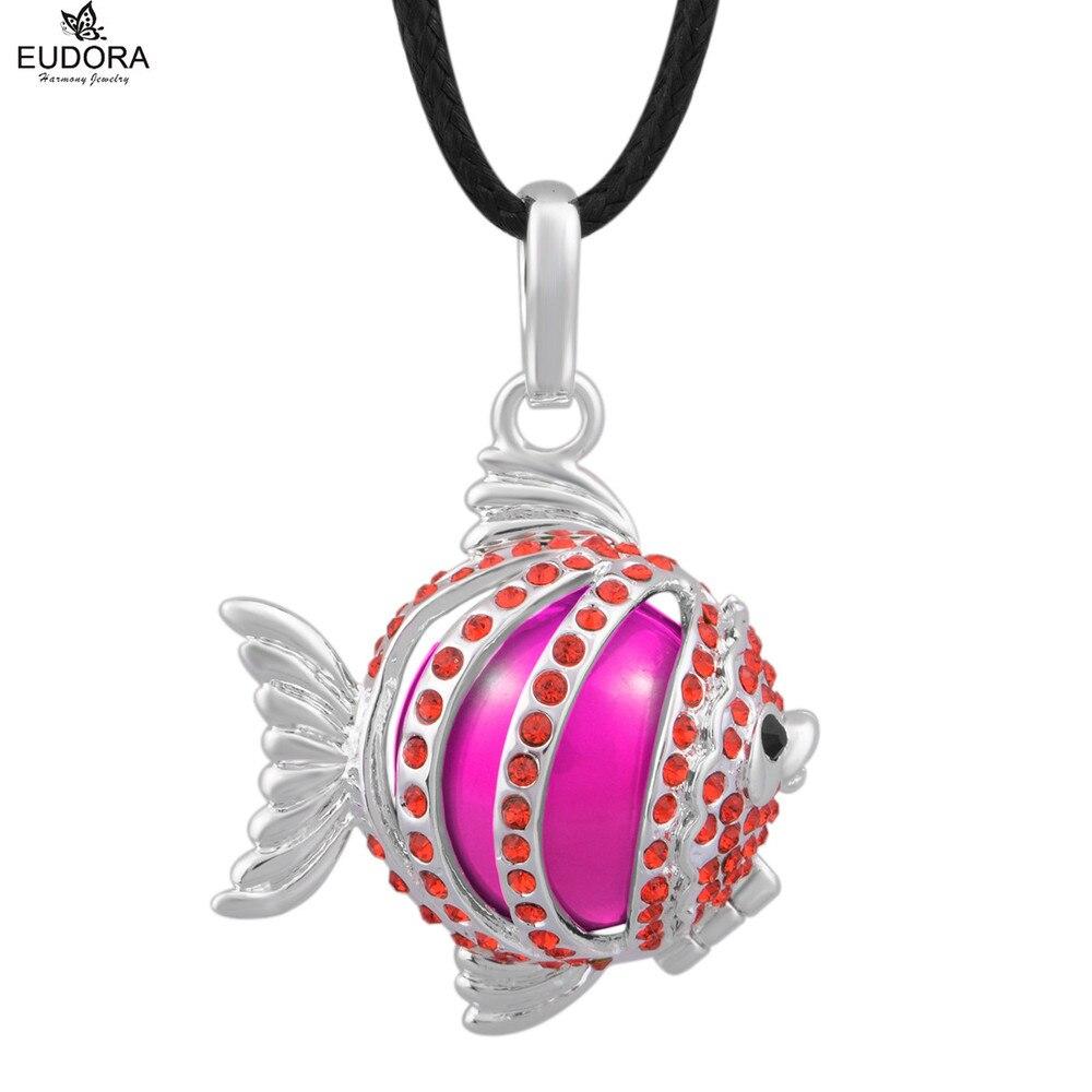 Eudora Harmony bola Bola Bonito Red Crystal Embutidos Forma de Peixe Gaiola Medalhão Pingente de Colar de Jóias para a Mãe Grávida do Presente do bebê