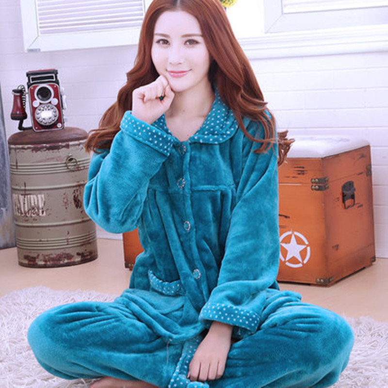 Sexy Green Winter Female Pajama Thick Flannel Flower Print Warm Pajama Set Long Sleeve Full Trousers Two Piece 2018 Top Fashion