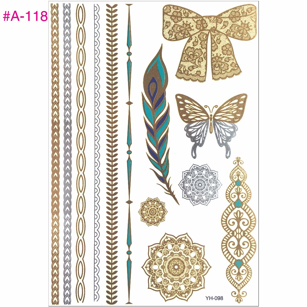 New Design Flash Removable Waterproof Gold Tattoos Metallic Temporary Tattoo Stickers Temporary Body Art Tattoo 7