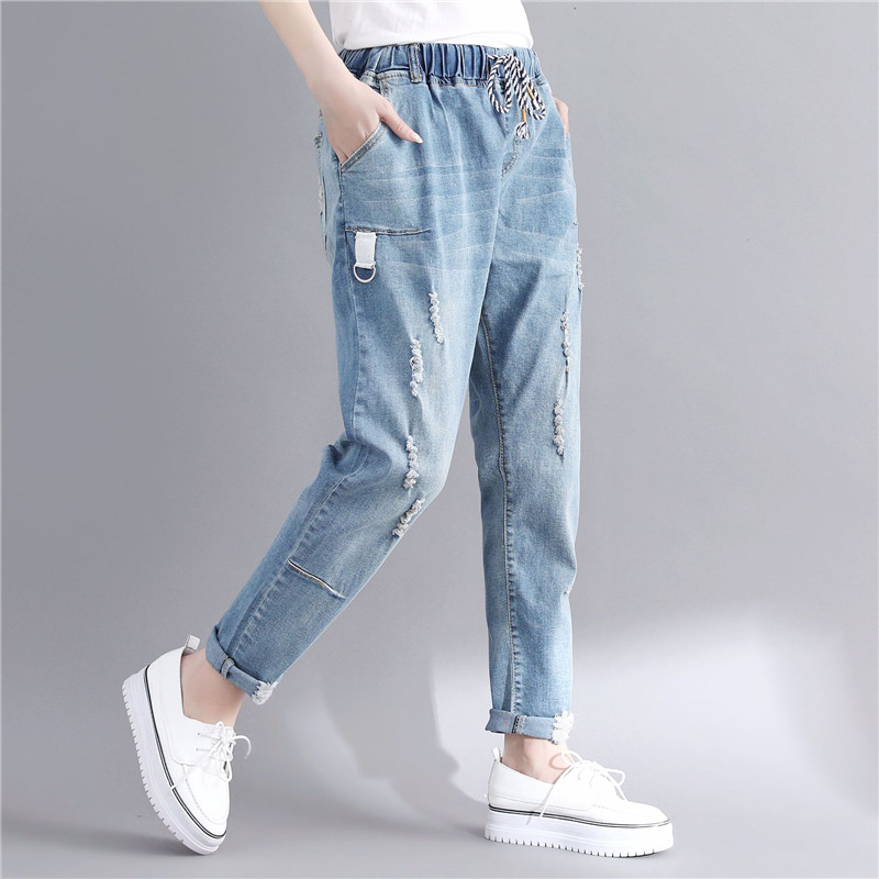 6XL Boyfriend   Jeans   For Women High Waist   Jeans   Denim Elastic Plus Size Vintage Casual Loose Mom Denim   Jeans   Trousers Women Q336
