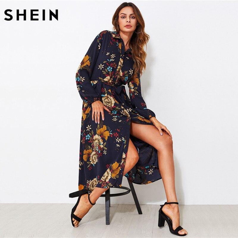 121b3d4601 SHEIN Self Tie Fit & Flare Botanical Shirt Dress Black Lapel Long Sleeve  Belted A Line