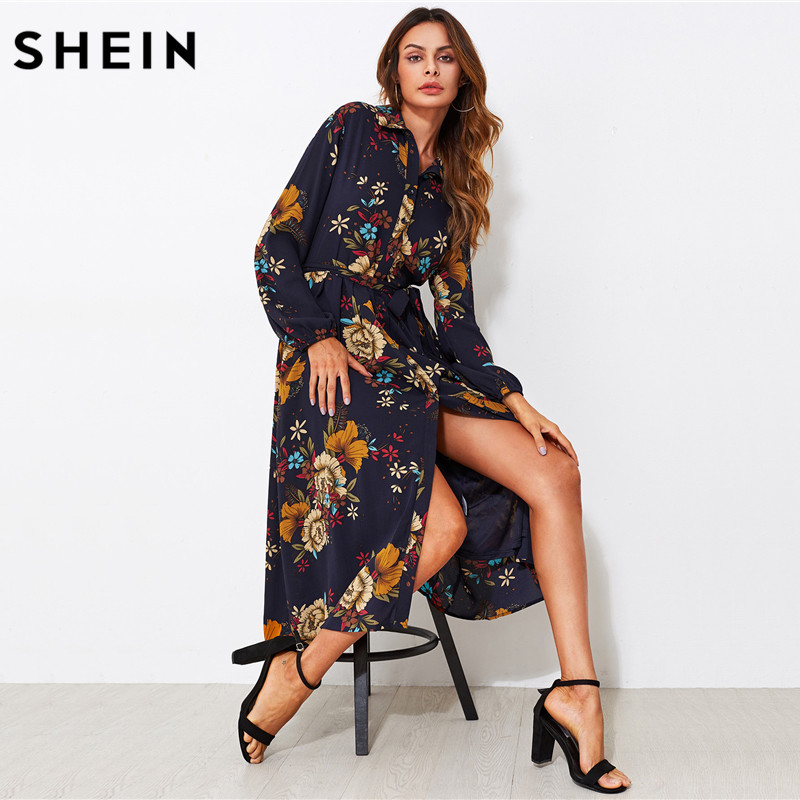 SHEIN Self Tie Fit Flare Botanical Shirt Dress Black Lapel Long Sleeve Belted A Line Dress