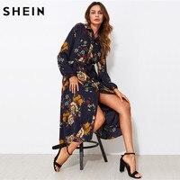 SHEIN Self Tie Fit Flare Botanical Shirt Dress Black Lapel Long Sleeve Belted A Line Dress