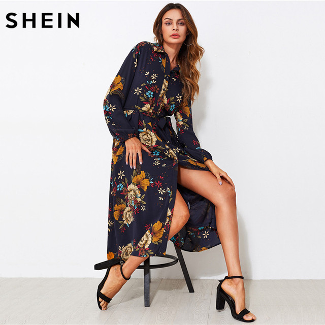 121b3d4601 SHEIN Self Tie Fit & Flare Botanical Shirt Dress Black Lapel Long Sleeve  Belted A Line