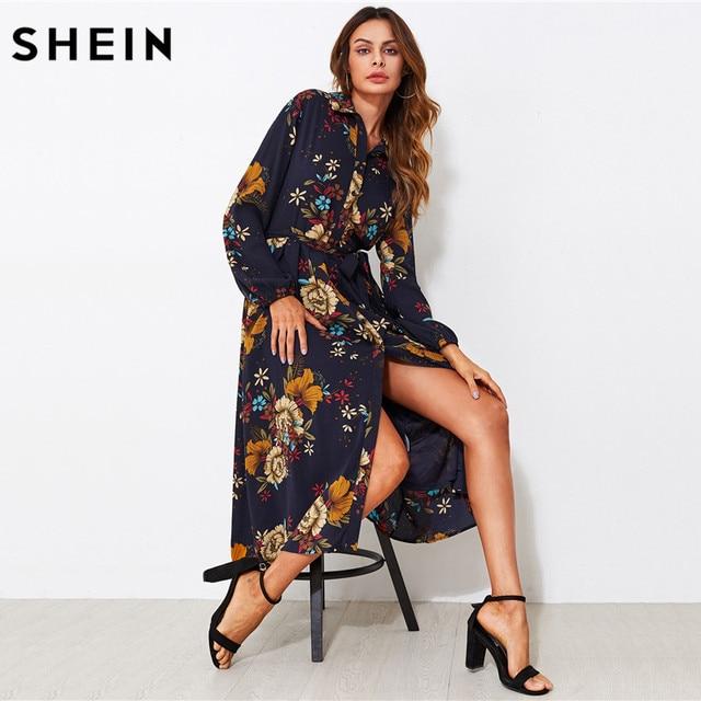 SHEIN Self Tie Fit   Flare Botanical Shirt Dress Black Lapel Long Sleeve  Belted A Line d91f0b3e05