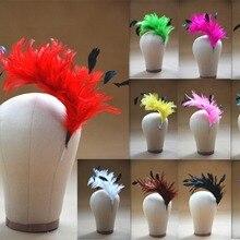 B061 Hackle Coque полосатый перо дерево Pom крепление цветок отделка шляпа Millinery