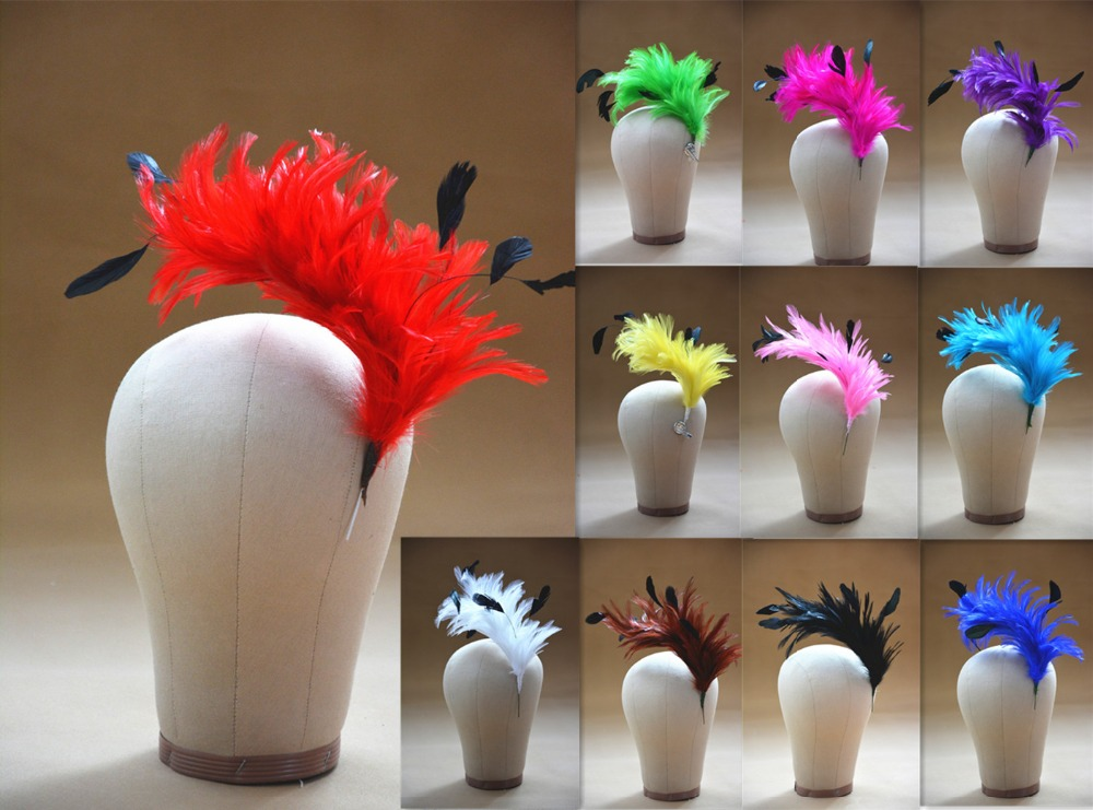 B061 Hackle Coque Striped Feather Tree Pom Mount Flower Trim Hat Milloline Wholesale (Wholesale)