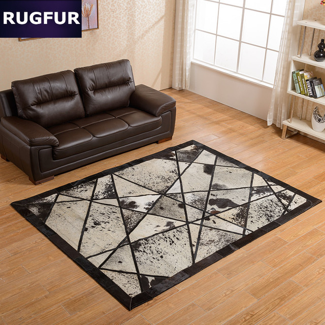 Artist Cowhide Patchwork Rug Modern Creative art work Rugs And Carpets  Original Cow Hair Natural Rug
