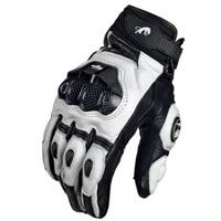 Gants moto noir course cuir véritable moto blanc course sur route équipe gant hommes été hiver