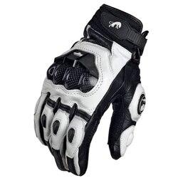 Luvas de motocicleta preta genuína, luvas de couro para motocicleta, branca, de corrida, de estrada e equipe masculina de verão