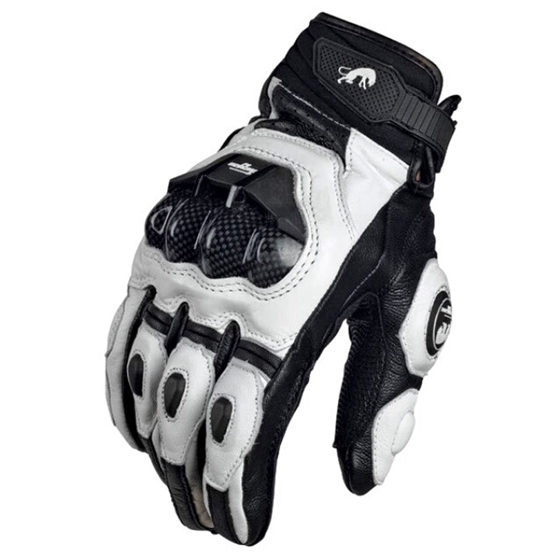 Glove Motorcycle-Gloves Motorbike Road-Racing-Team White Winter Genuine-Leather Summer title=