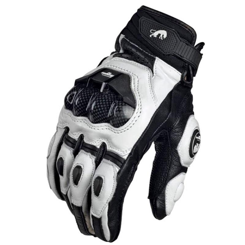 Motorcycle Gloves black Racing Genuine Leather Motorbike white Road Racing Team Glove men summer winter