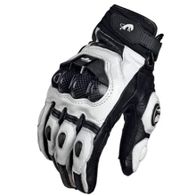 Rękawice motocyklowe czarne wyścigi prawdziwej skóry motocykl białe wyścigi drogowe rękawice drużynowe mężczyźni lato zima tanie tanio Skóra Nadające się do noszenia
