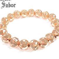 thomas 10mm Rose Gold Baby Footprint Bead Bracelet,2019 New Strand Bracelet Silver Fashion Jewelry for Men Women female