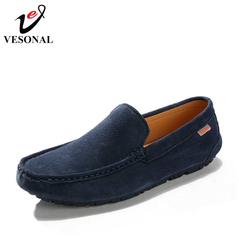 VESONAL Summer Breathable Lgith Soft Moccasins Male Loafers Shoes For Men Flats Spring Casual Cow Suede Slip On Driving Footwear vesonal 2017 quality mocassin male brand genuine leather casual shoes men loafers breathable ons soft walking boat man footwear