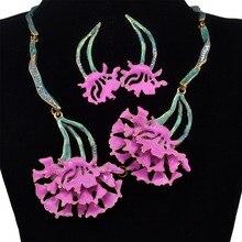 Nueva Moda 4 Colores Del Rhinestone Del Embutido Flor Rama Collar de la Forma Pendientes de La Joyería Para Las Mujeres Niñas Joyas