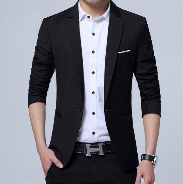 Single On Spring Summer Men Blazers Back Split 4 Colors Casual Office Business Long Sleeve Pockets