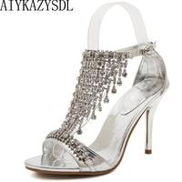 AIYKAZYSDL Wedding Bridal đảng Phụ Nữ Giày pha lê rhinestone Giày dây đeo mắt cá chân strap thin cao gót sandal bơm vàng bạc