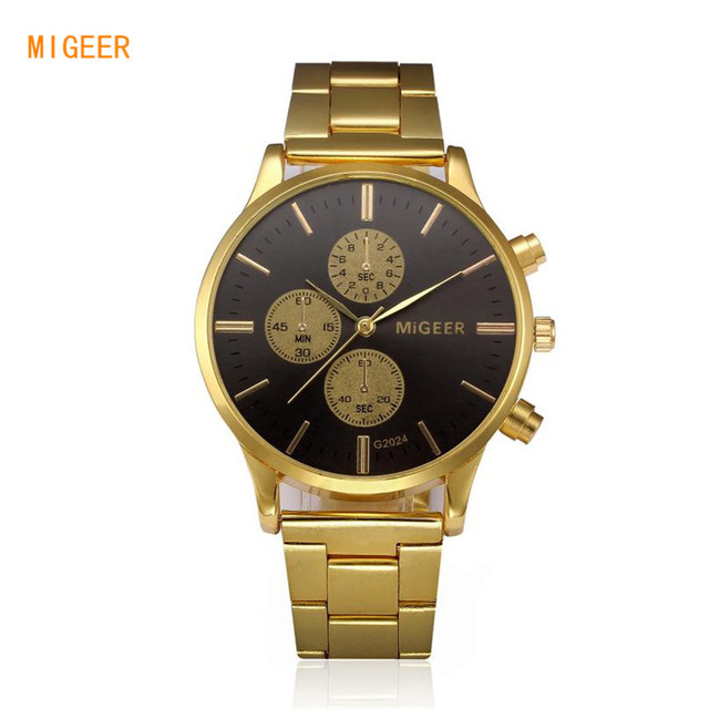 a19b8309cb465 Fashion Top Luxury Brand Man Stainless Steel Band Gold Watch Migeer Men  Analog Quartz Wrist Watch Business Dress Watches Clock