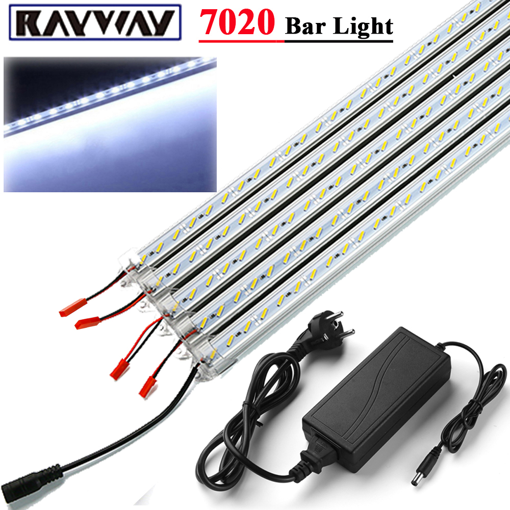 RAYWAY Easy Connection 5pcs 7020 SMD led rigid strip 50cm 36 LED bar light Tube with aluminum profile + DC 12V 5A Power Adapter 5pcs lot high light dual chip 8520 smd led rigid light clear milky cover led bar light strip dc 12v 5a power supply adapter