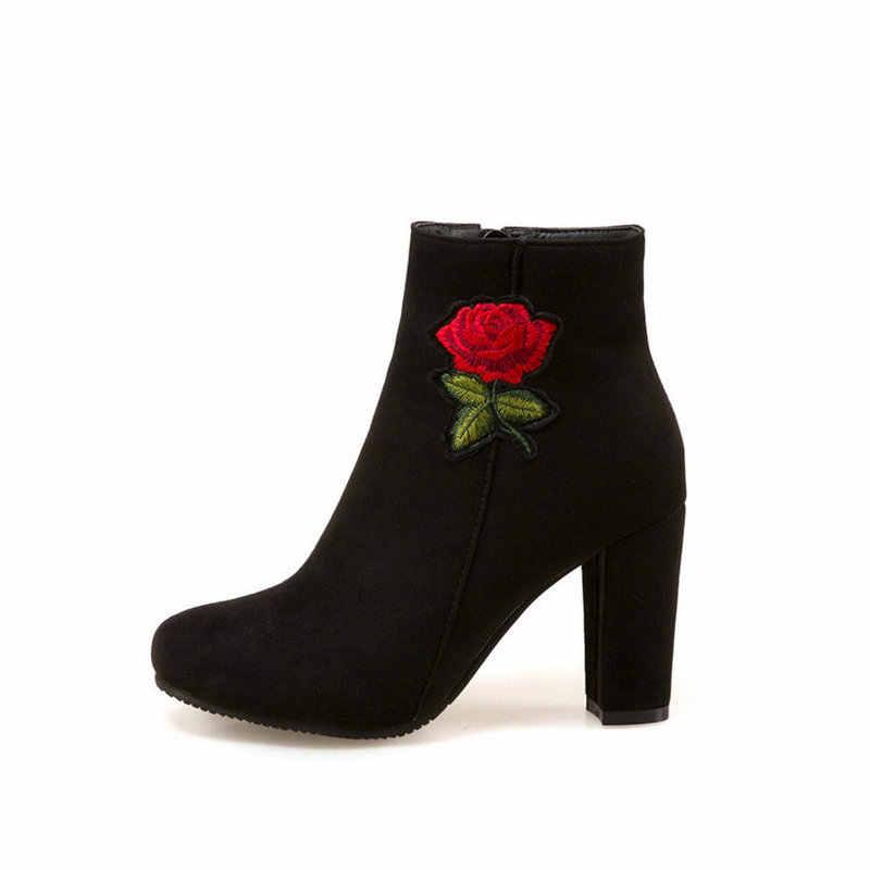 Kadın Akın Çiçek yarım çizmeler Kare Yüksek Topuk Moda Fermuar Çizmeler Yuvarlak Ayak Sonbahar Kış kadın ayakkabısı Artı Boyutu 43 Kırmızı Siyah