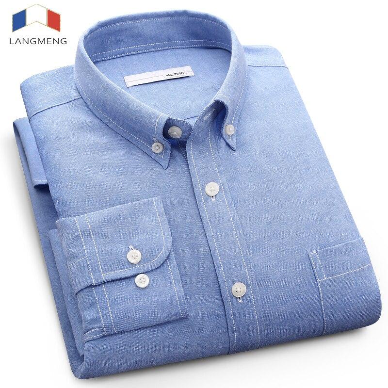 Langmeng 2017 Длинные рукава большие размеры 5XL мужчин повседневная рубашка мужская деловая рубашка брендовая мужская социальных Оксфорд рубашки синий белый