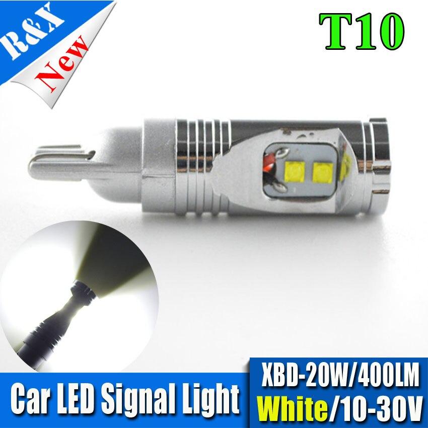 1pcs T10 450LM led 10-30V High Power 20W XBD Pure White Plate Interior 194/501 W5W car Bulbs Light Lamp parking car light source