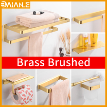 Bathroom Towel Holder Gold Brass Towel Bar Wall Mounted Towel Rack Hanging Holder Coat Hook Rack Toilet Paper Holder with Shelf high quality bathroom towel holder with ceramic base brass towel rack 60cm towel shelf