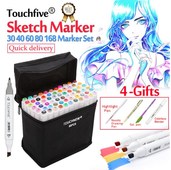 Touchfive 30/36/40/60/80/168Colors Pen Marker Set Dual Head Sketch Markers Brush Pen For Draw Manga Animation Design Art Supplie touchfive 30 40 60 80 colors drawing marker pen animation sketch art markers set for artist manga graphic based markers brush