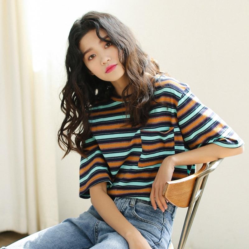 2018 summer Women Casual Loose stripe Printed t-Shirts Ulzzang Harajuku O-neck Short Sleeve cozy student tee Tops Poleras Mujer