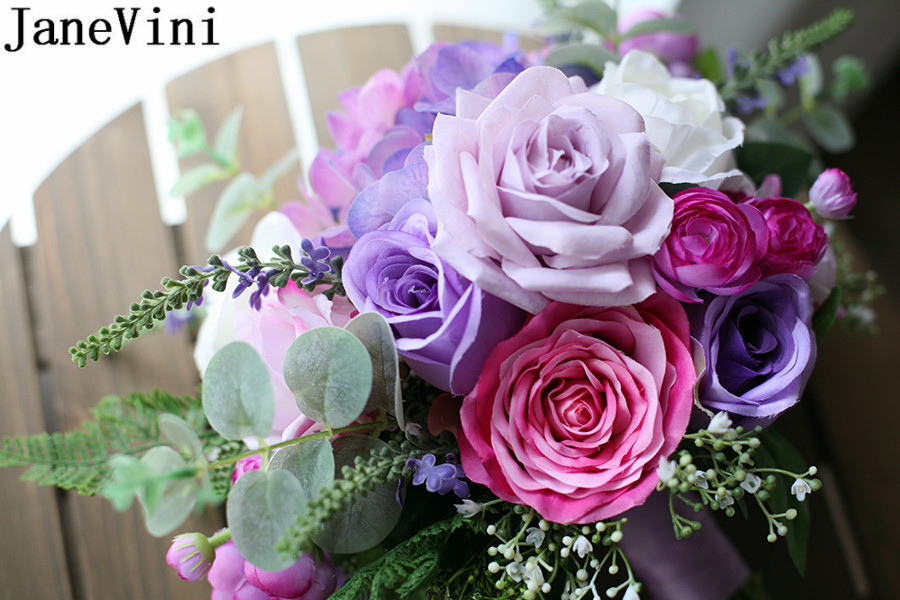 Купить с кэшбэком JaneVini Romantic Brides Bouquet Wedding Flowers Lilac Purple Rose Silk Artificial Bridal Bouquet Stitch Western Wedding Brooch